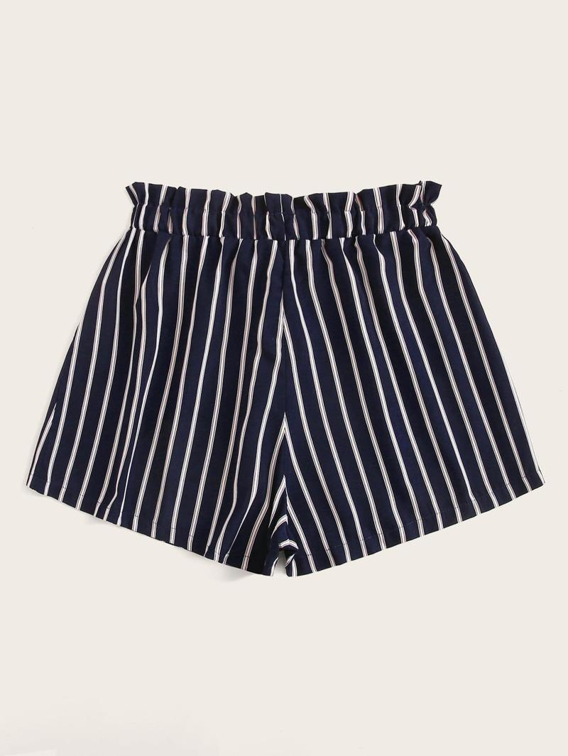 9a1a949ea27c Shorts con volante de rayas de cintura con cordón