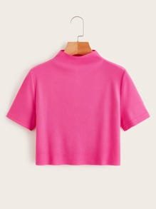 Neon Pink Stand Collar Crop Tee