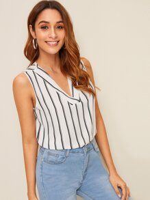 V-neck Striped Sleeveless Blouse