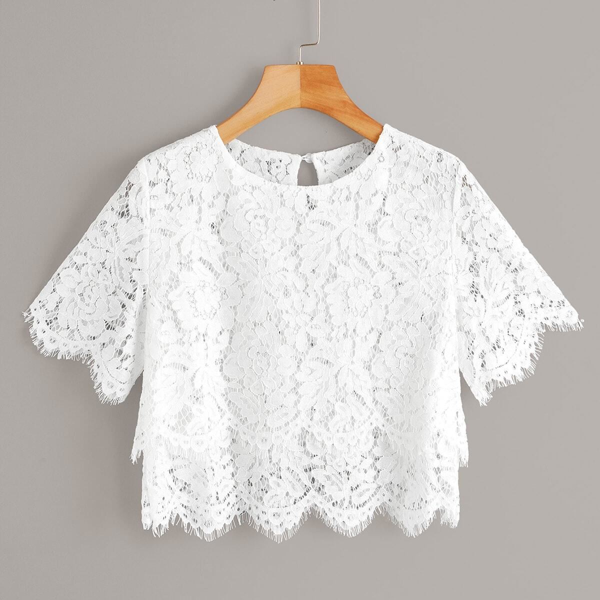 SHEIN coupon: Lace Scallop Hem Sheer Crop Blouse