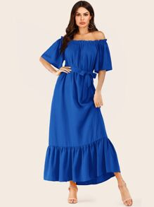 Solid Off Shoulder Ruffle Hem Belted Dress
