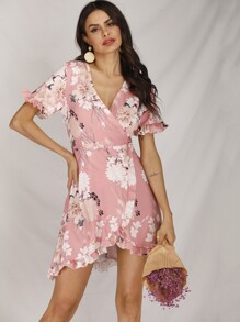 Large Floral Print Ruffle Hem Wrap Dress