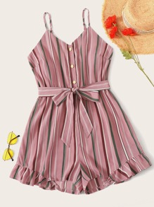 Plus Striped Button Front Belted Cami Playsuit