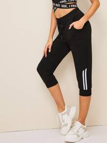 Drawstring Waist Side Striped Pants