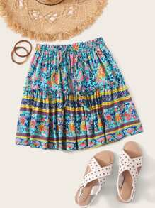 Tribal Ditsy Floral Drawstring Waist Skirt