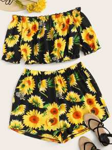 Plus Sunflower Print Off Shoulder Top With Shorts