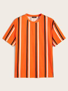 Men Neon Orange Striped Tee