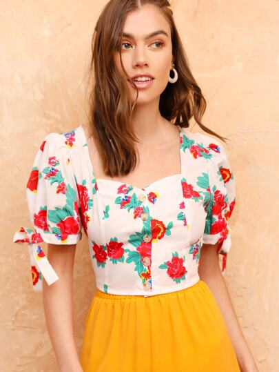 30aaf91dd7f6fc Puff Knot Sleeve Button Front Floral Top