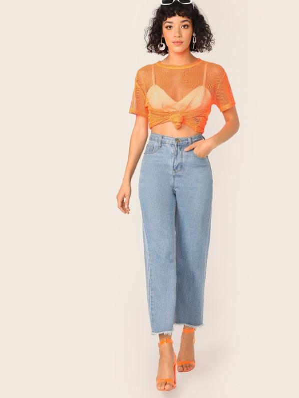 ced50b6e998 Neon Orange Sheer Fishnet Mesh Top Without Bra | SHEIN UK