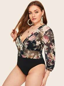 Plus Deep V Neck Sheer Floral Print Bodysuit