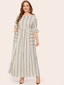 plus flounce sleeve patch pocket striped dress