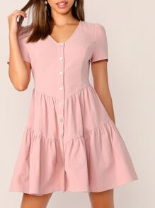Button Through V-cut Tea Dress