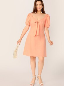 Plus Bow Front Puff Sleeve Solid Dress