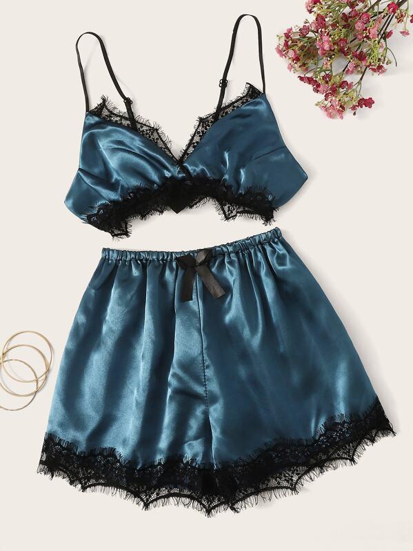 df39a0505 Eyelash Floral Lace Satin Lingerie Set