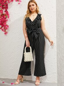 Plus Polka Dot Ruffle Belted Jumpsuit