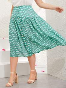 Plus Geo Print Button Front Skirt