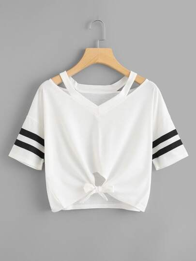 Plus Striped Sleeve Cut Out Knot Hem Tee