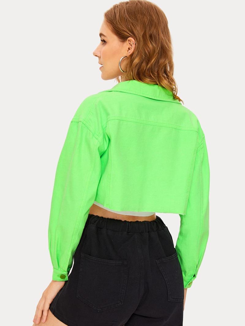 e43947a586 Neon Green Flap Pocket Crop Denim Jacket