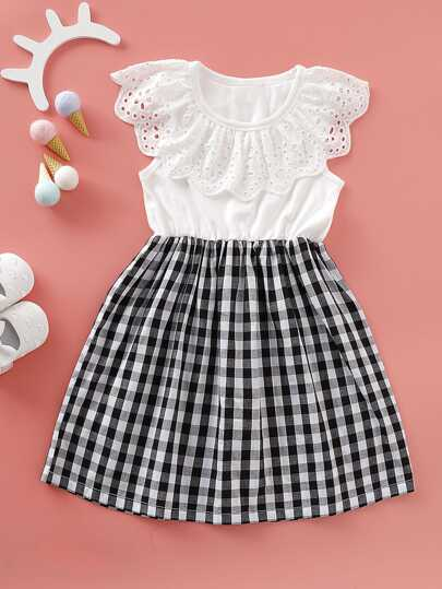 eb3674fe3 Toddler Girls Gingham Eyelet Embroidery A-line Dress