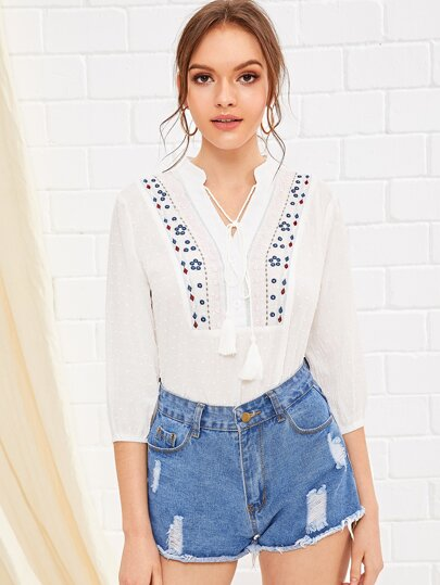 Swiss Dot Embroidery Tie Neck Blouse