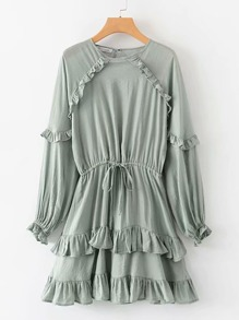 Ruffle Trim Drawstring Keyhole Back Dress