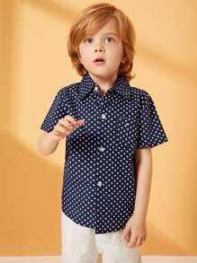 Toddler Boys Allover Star Print Curved Hem Shirt