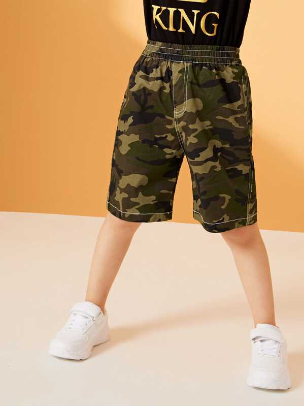 cb87e521c3 Toddler Boys Topstitching Camo Bermuda Shorts