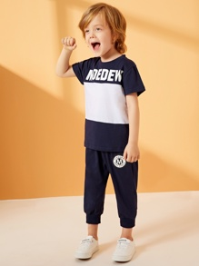 Toddler Boys Contrast Panel Letter Print Tee With Sweatpants