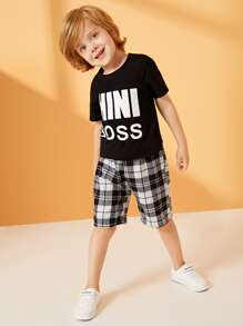 Toddler Boys Letter Print Tee & Plaid Shorts