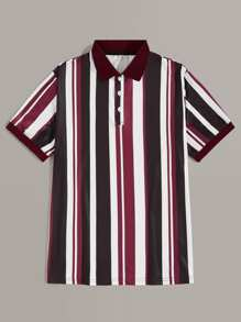 Men Vertical Striped Polo Shirt