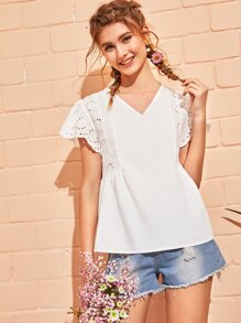 Eyelet Embroidery Shirred Peplum Blouse