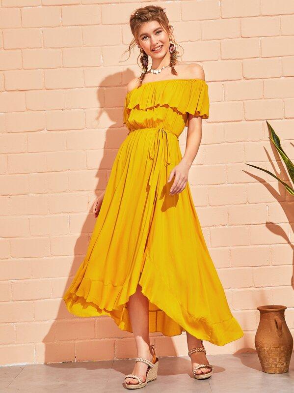669da4655d Self Tie Tulip Hem Bardot Dress | SHEIN