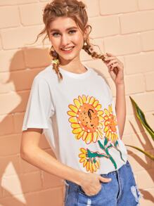 Pearls Sunflower Print Tee