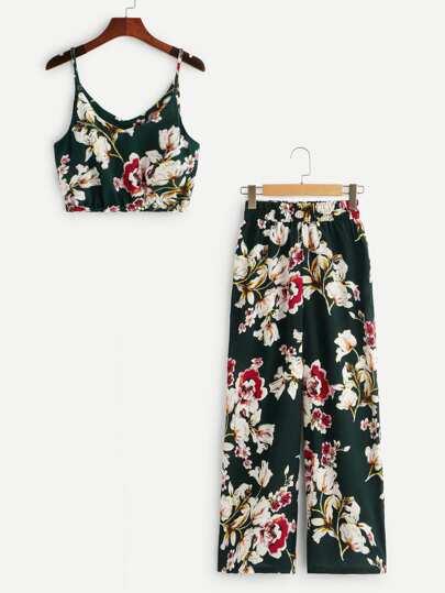 2f9e396287127 Top à fines brides avec imprimé floral   Pantalon