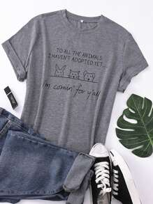 Plus Slogan & Cartoon Print Tee