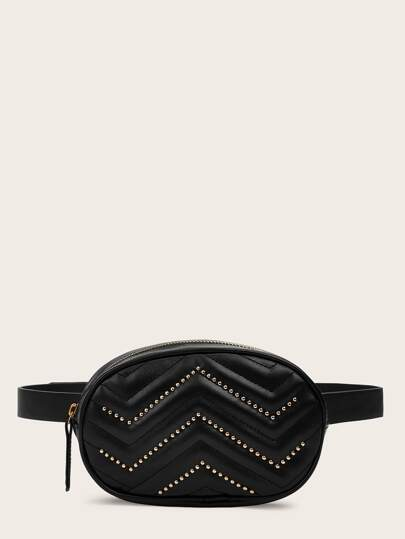 Studded Detail Chevron Fanny Pack