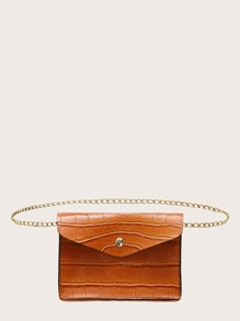Chain Strap Croc Embossed Crossbody Bag
