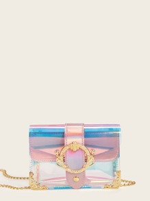 Buckle Detail Iridescent Chain Crossbody Bag