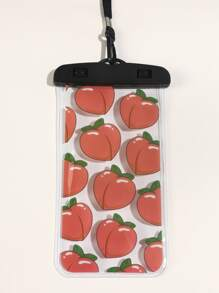 Peach Print Transparent Waterproof Phone Bag