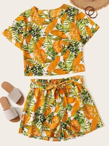 Plus Tropical Print Tee With Shorts