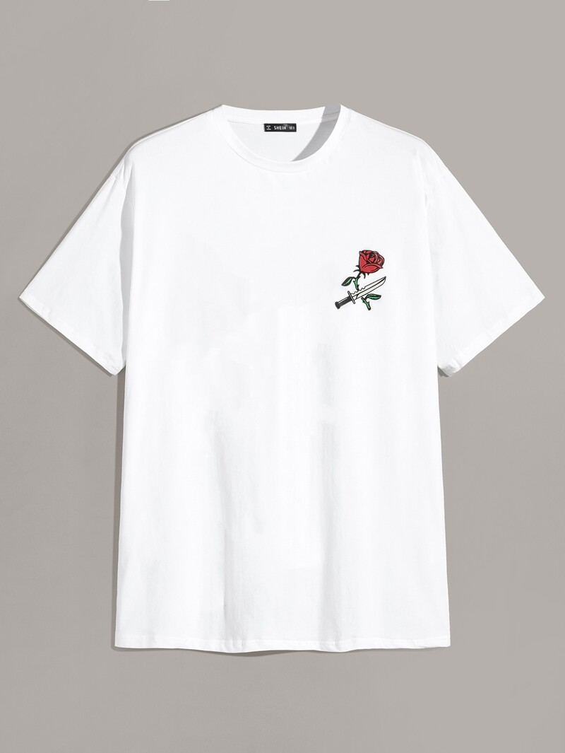5246d7c99339 Guys Rose & Knife Print T-shirt   ROMWE