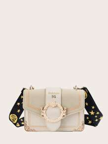 Stitch Detail Bag With Star Print Strap