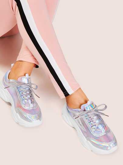 Tie Dye Iridescent Panel Sneakers