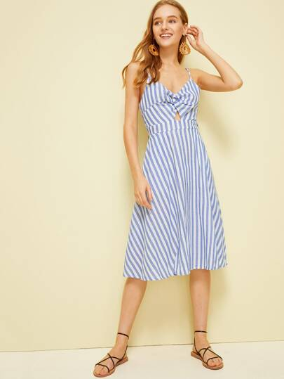 e7c5f2f28d Twist Front Peekaboo Bow Tie Back Striped Dress