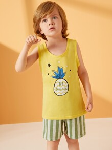 Toddler Boys Pineapple Print Striped Pajama Set