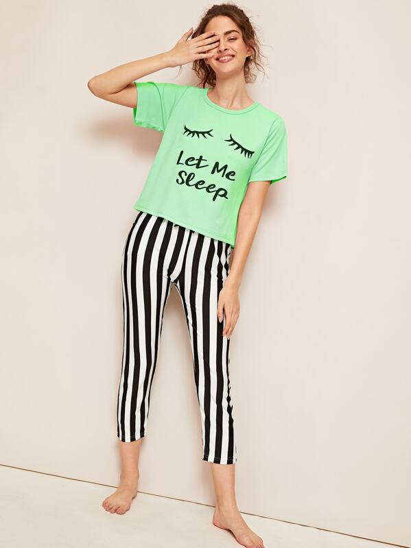 0d6e00afff Eyelash & Letter Print Striped Pyjama Set | SHEIN UK
