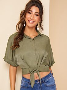 Roll Up Sleeve Knot Front Crop Blouse