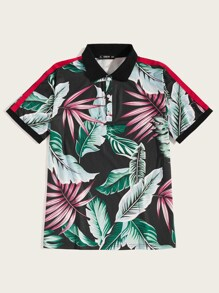 Men Tropical Print Side Striped Polo Shirt