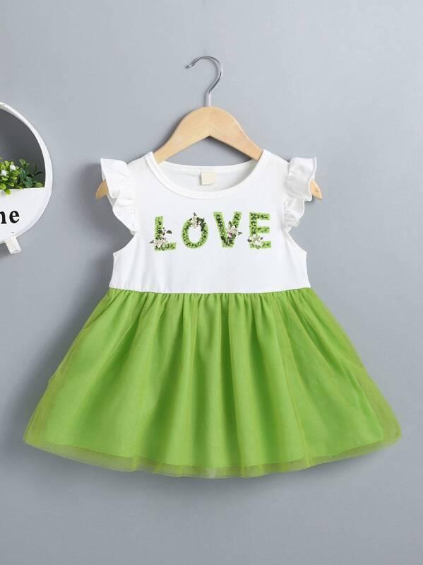 17d115302 Vestido línea A de bebé niña con malla en contraste con estampado de letra  | SHEIN ES
