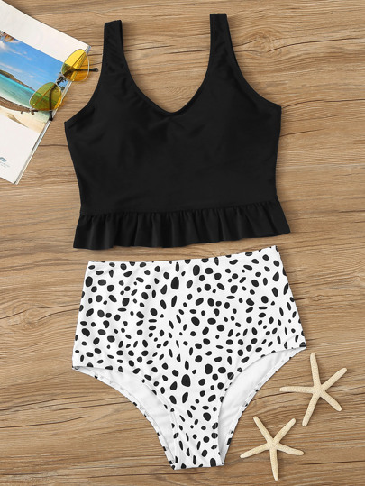 553bef95cb Ruffle Hem Top With Dalmatian High Waist Tankini Set